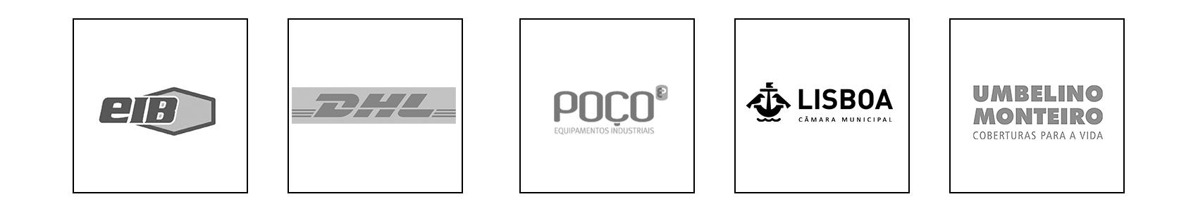 Empresas: EIB, DHL, Poço, Camara municipal de Lisboa e Umbelino Monteiro